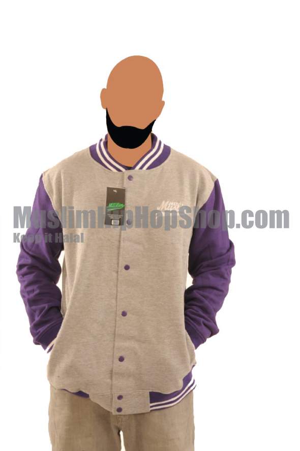 Grey Purple Islamic Baseball Jacket