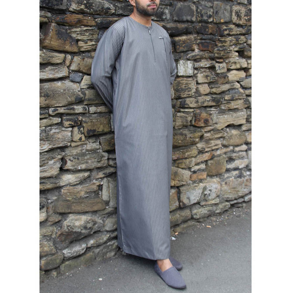 Grey Zipper Jubbah Thobe