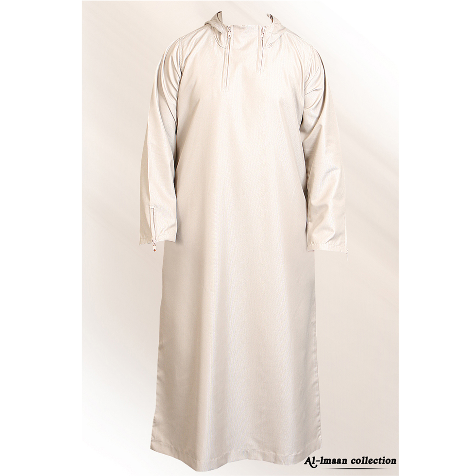 Hooded Double Zipper Jubba Thobe