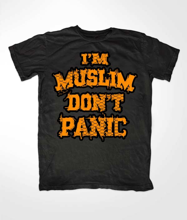Im Muslim Dont Panic Orange on Black
