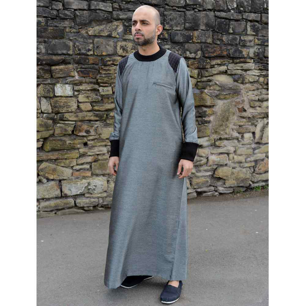 Mens Arm Patch Silver Black Jubba