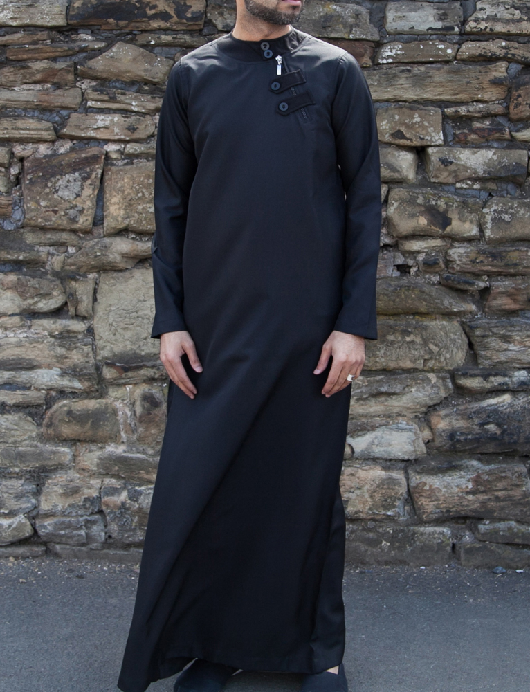 Mens Black Loop Zip Jubba