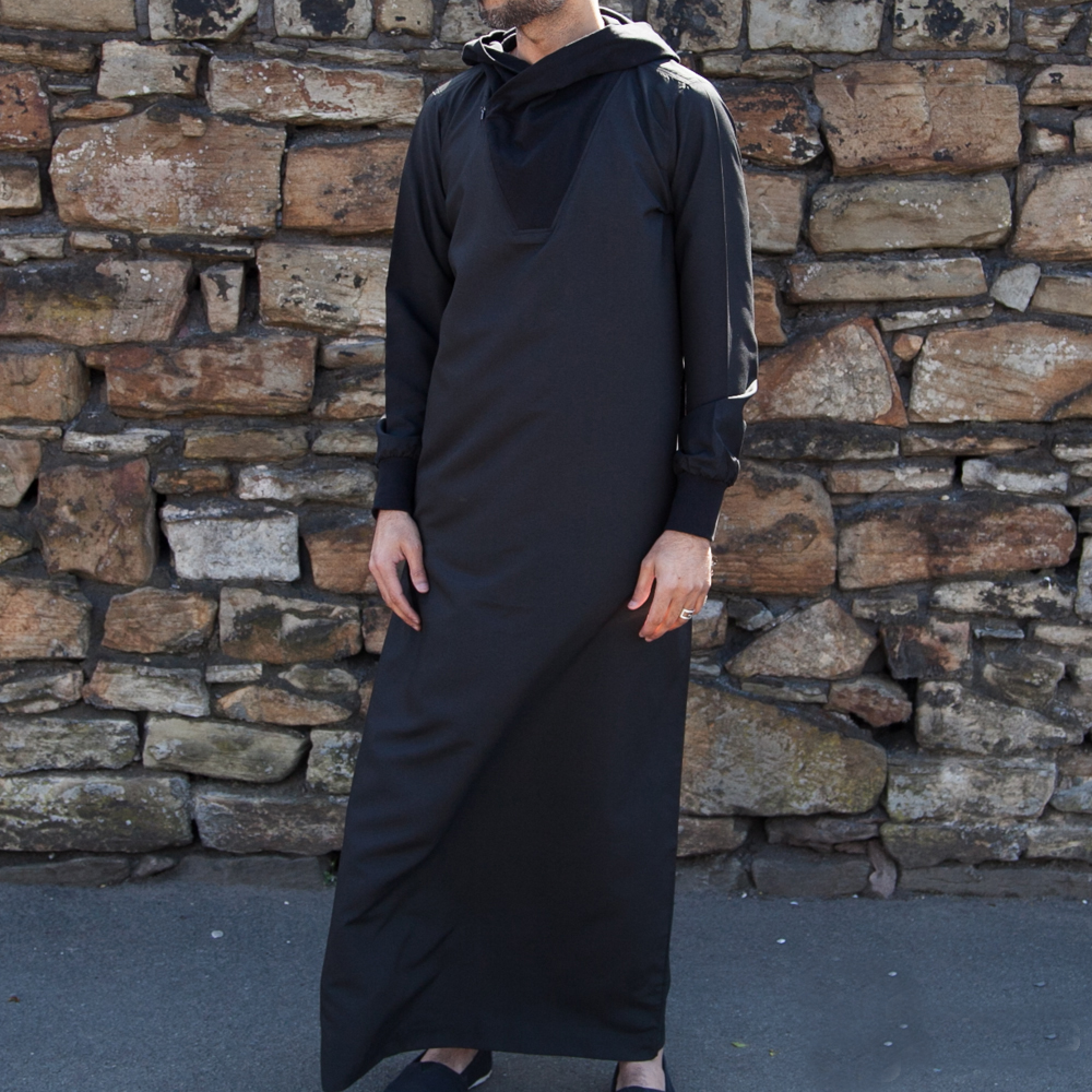 Mens Hooded Black Plain Jubba