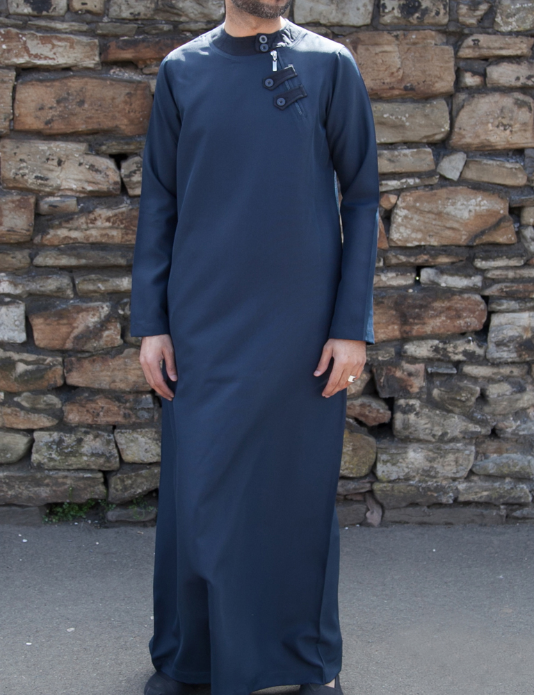 Mens Navy Blue Loop Zip Jubba