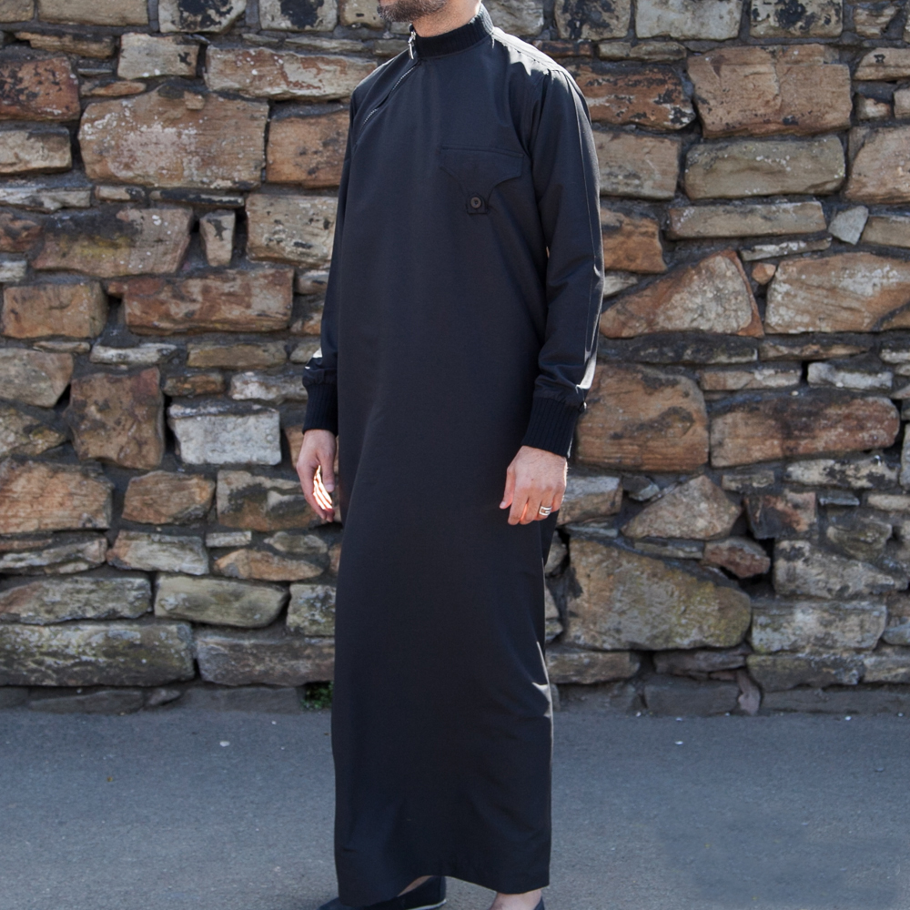 Mens Side Cuff Black Jubba Thobe