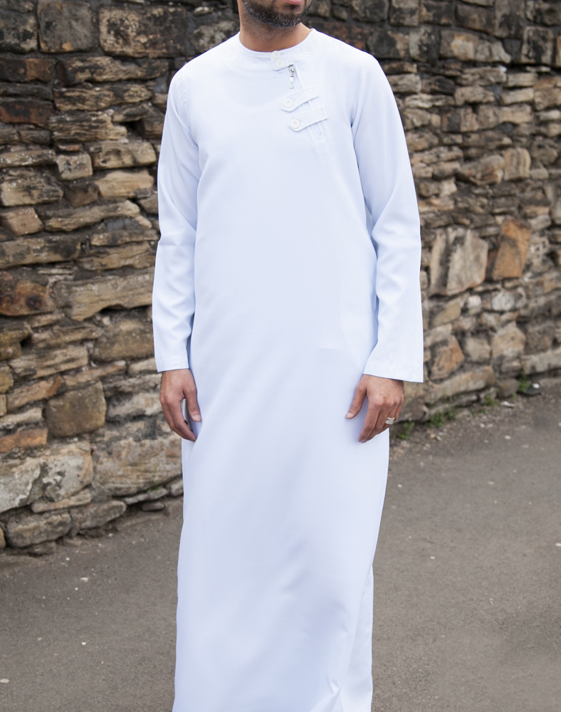 Mens White Loop Zip Jubba