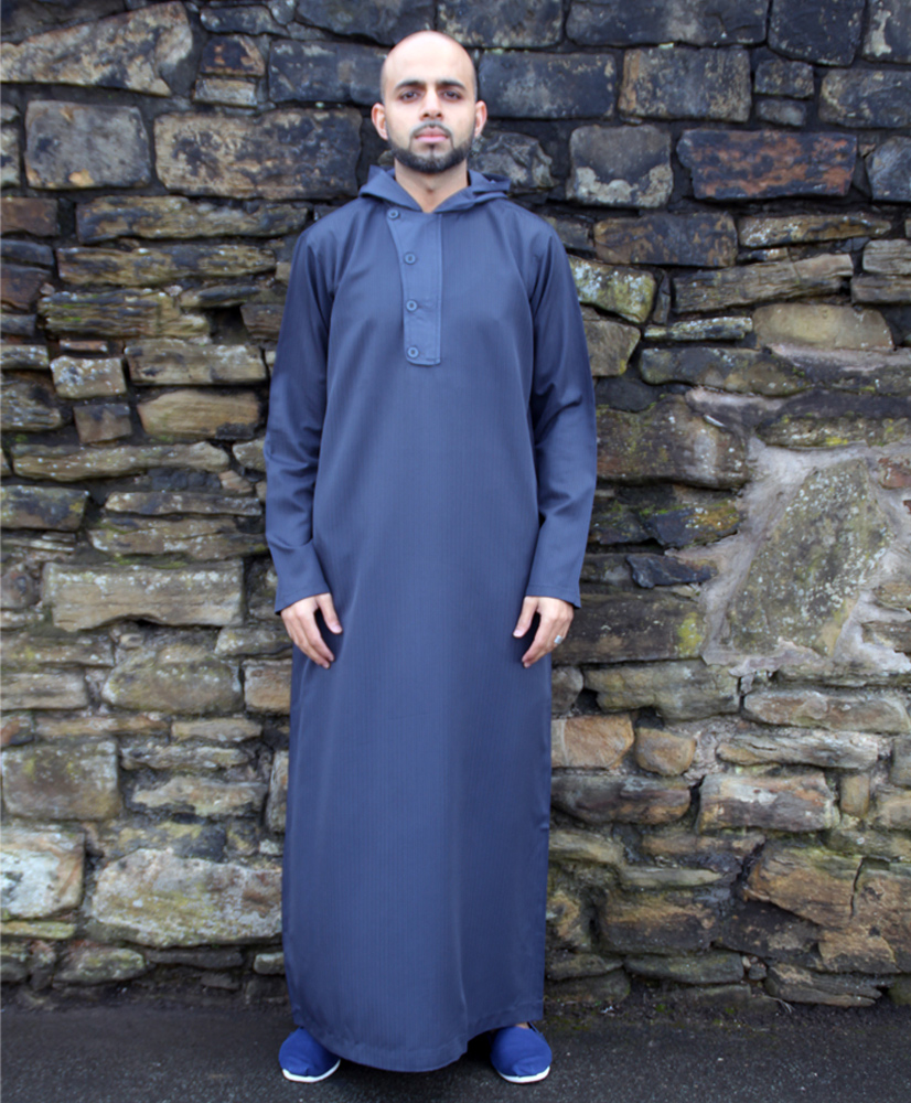 Navy Blue Hooded 4 Button Jubba
