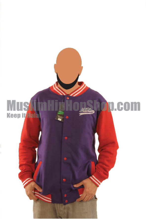 Navy Blue Red Islamic Baseball Jacket