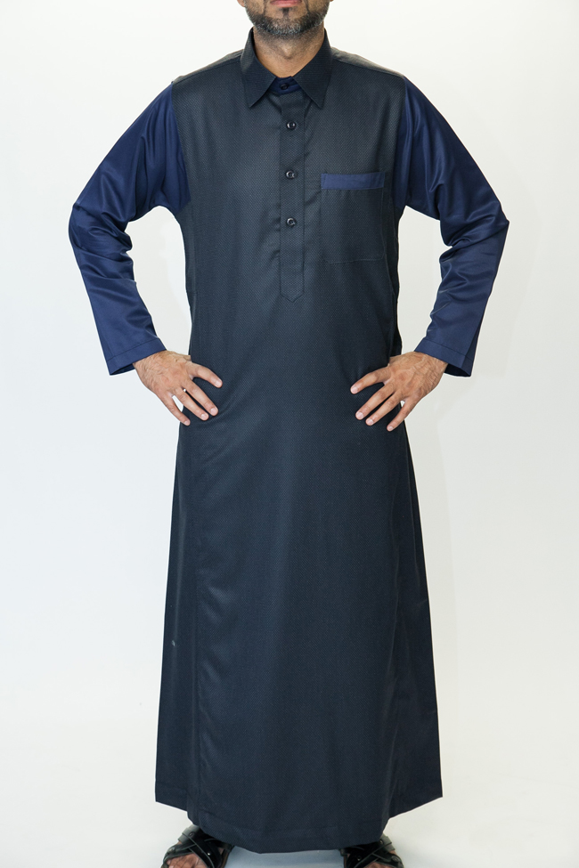 Navy Blue Shirt Collar Jubbah
