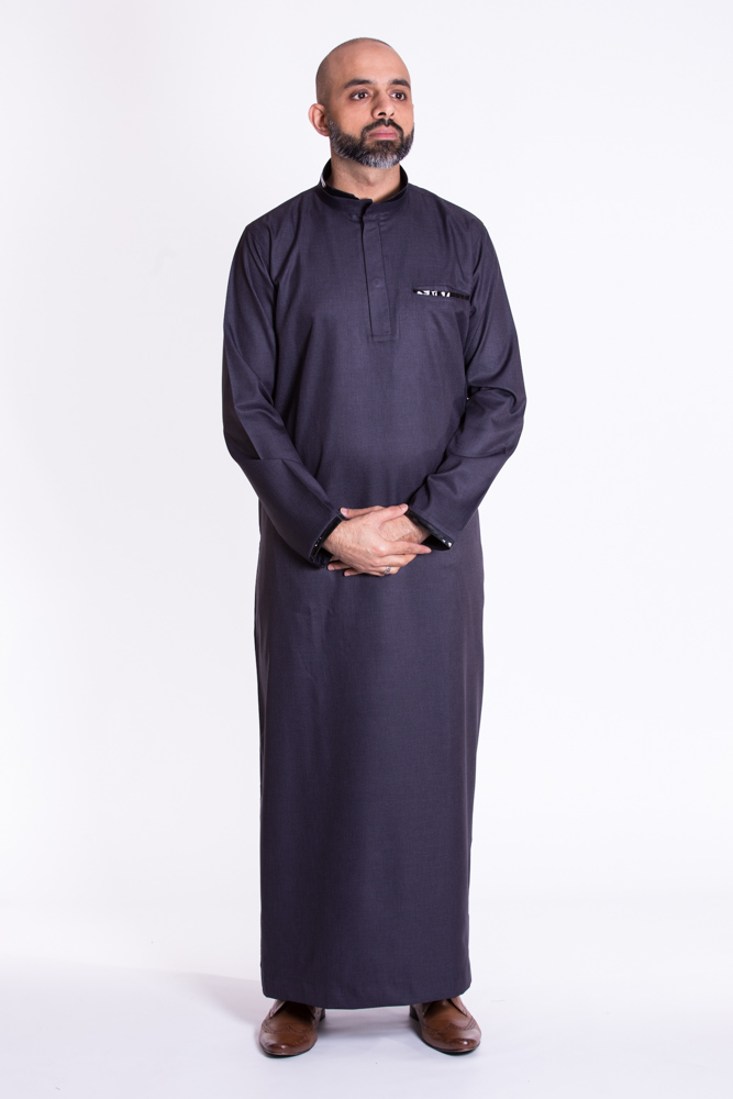 Navy Blue Muslim New Pipping  Jubba Thobe