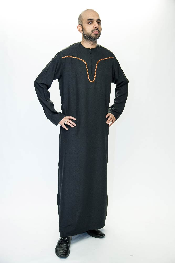 New Black Omani Mens Jubba Thobe