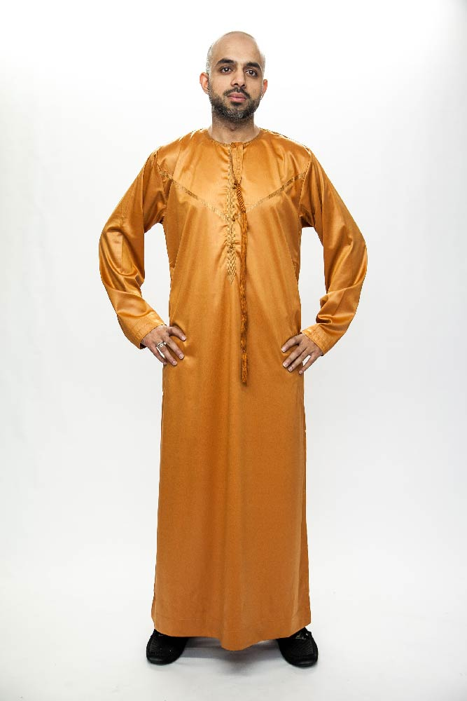 New Orange Omani Mens Jubba Thobe