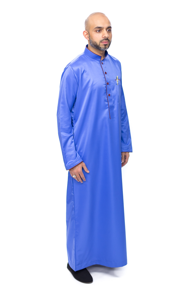 Royal Blue Coller Pipping Jubba