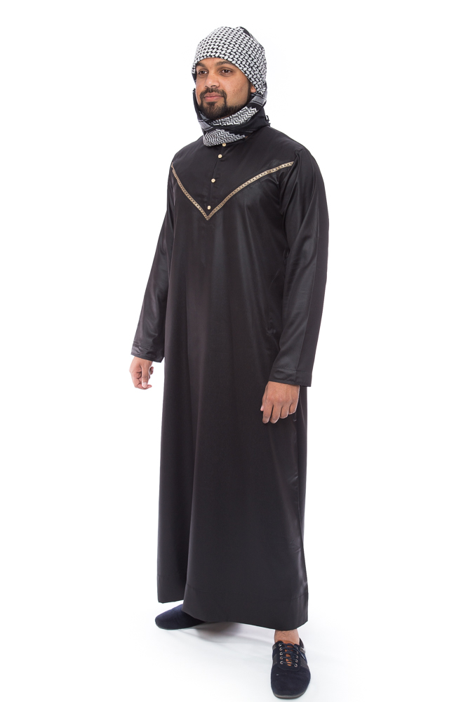 Black Omani Mens Islamic Jubbah