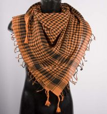 Orange Black Palestinian Scarf Keffiye