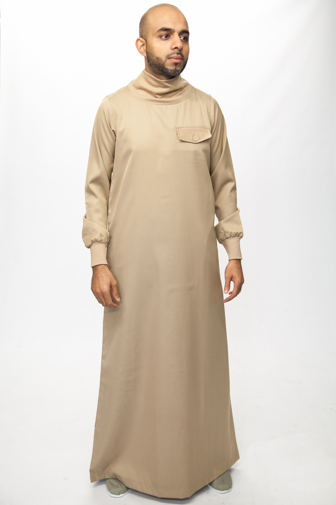 Polo Neck Beige Islamic Mens Jubba