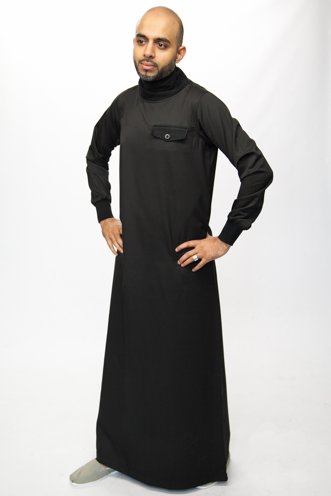 Polo Neck Black Islamic Mens Jubba