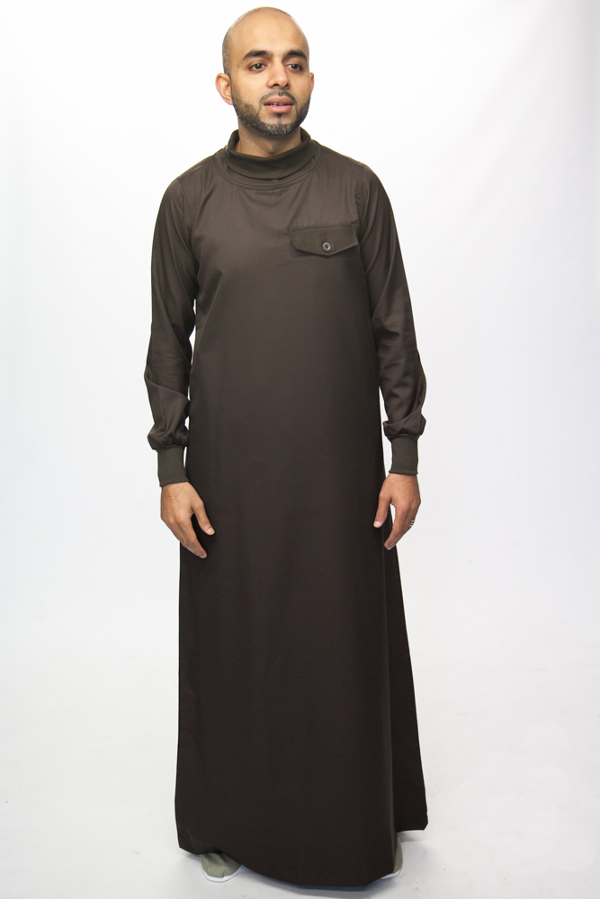 Polo Neck Brown Islamic Mens Jubba