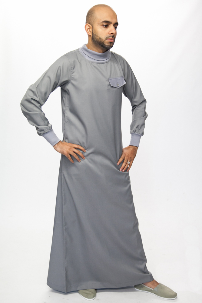 Polo Neck Grey Islamic Mens Jubba