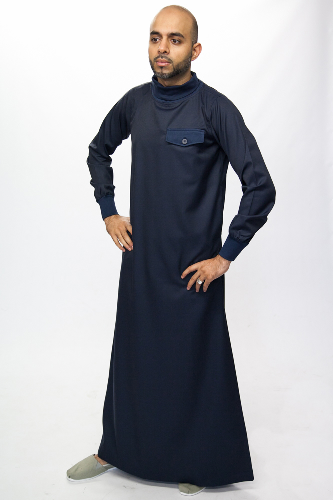 Polo Neck Navy Blue Islamic Mens Jubba