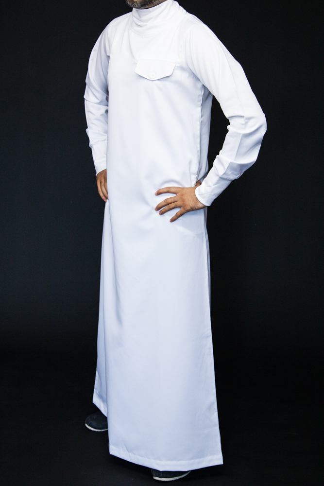 Polo Neck White Islamic Mens Jubba