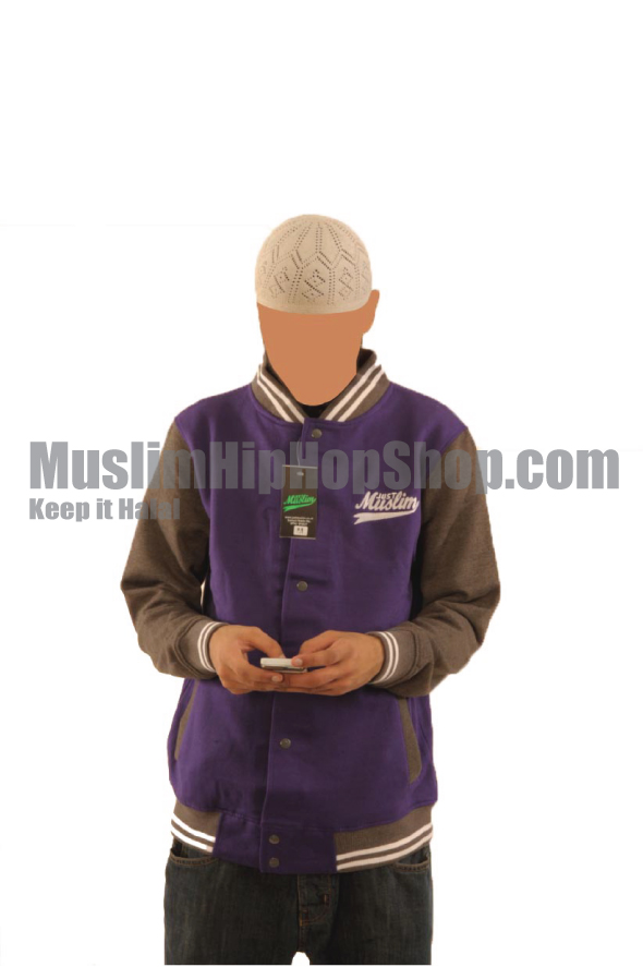 Purple Dark Grey Islamic Baseball Jacket