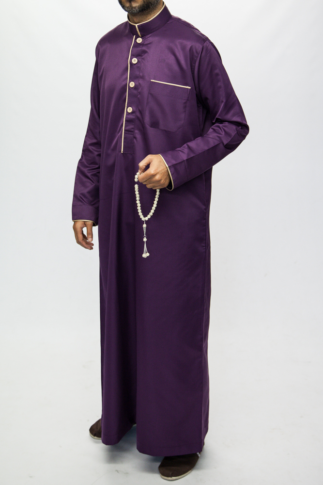 Purple Islamic Mens Pipping Jubba