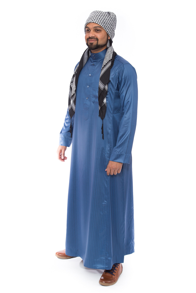 Blue Stripped Shiny Mens Jubba
