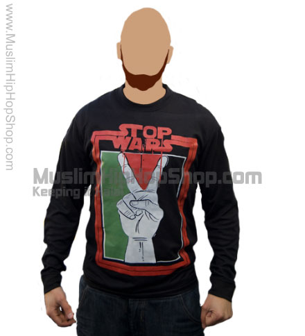 Stop war in palestine black full sleeve t shirts