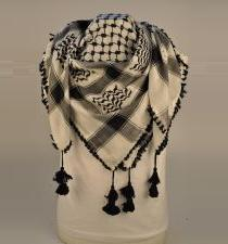 White And Black Arab Palestinian Scarf Keffiyeh