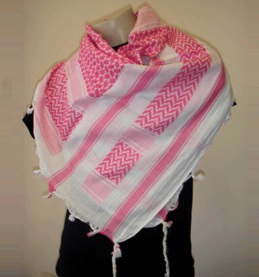 White and Pink Arab Scarf