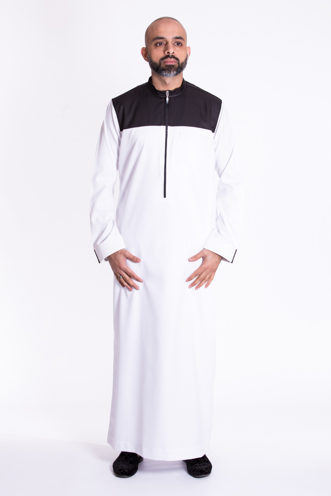 White Zipper Muslim Jubba