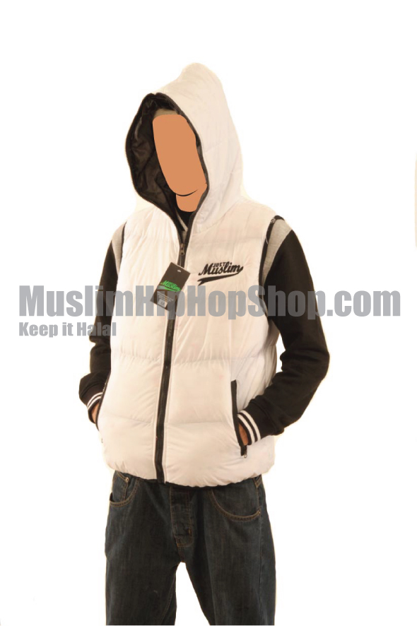 White Color Muslim Hooded Body Warmer