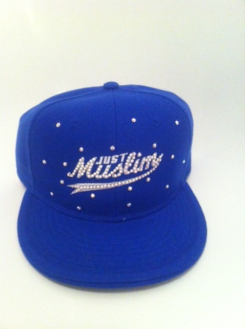 White Design Blue Islamic Cap