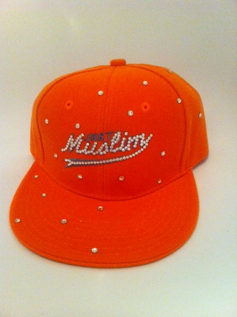 White Design Orange Muslim Cap