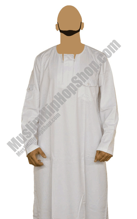 White Ziped Jubbah Thobe