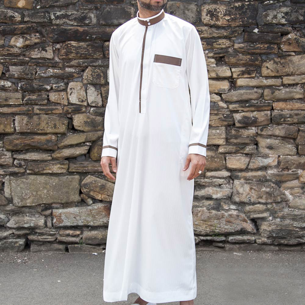 White Gold Collar Jubba Thobe