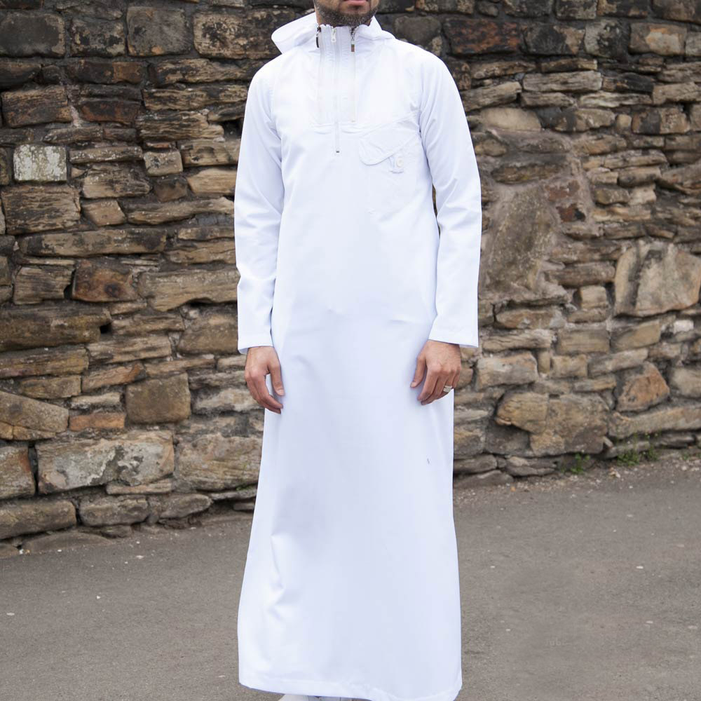 White Hooded Zipper Jubba
