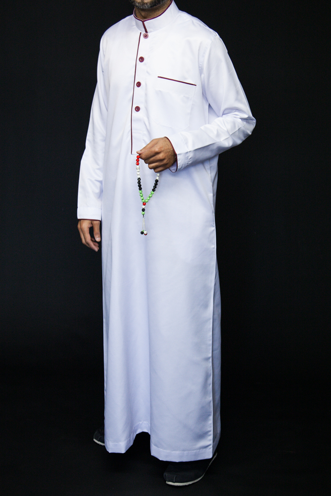 White Islamic Mens Pipping Jubba