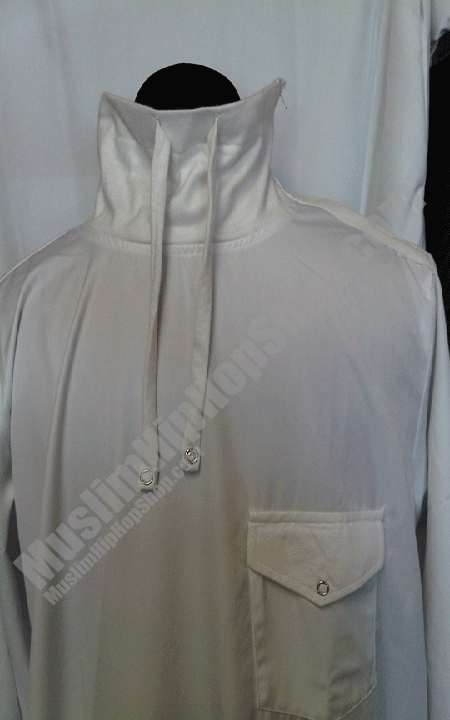 White polo neck designer thobe