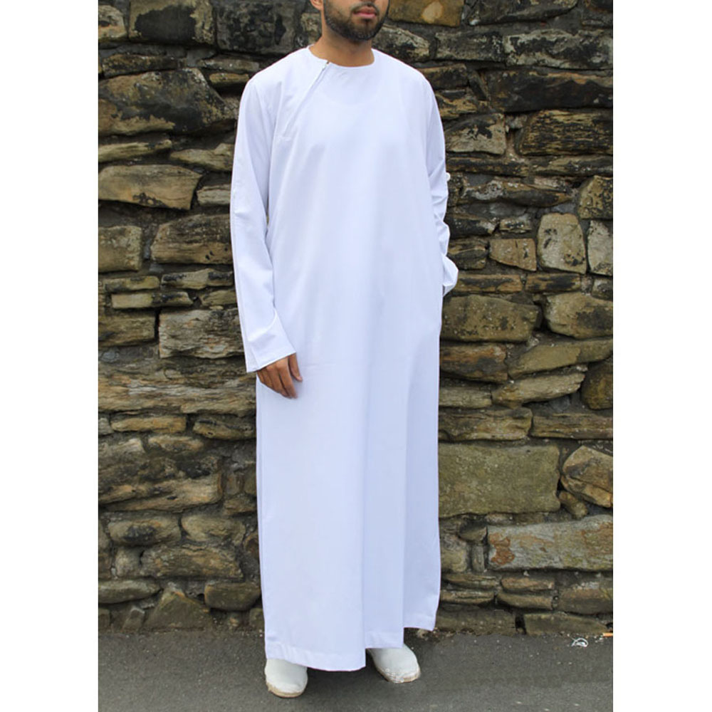 White Roll Down Islamic Jubba