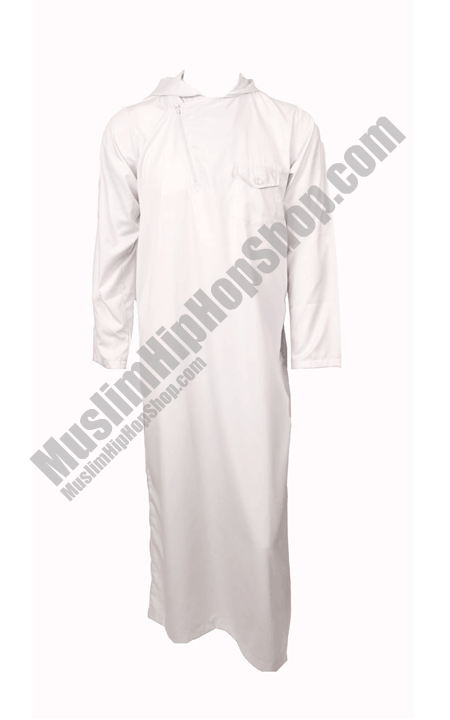 White Side Flap Hooded Jubba
