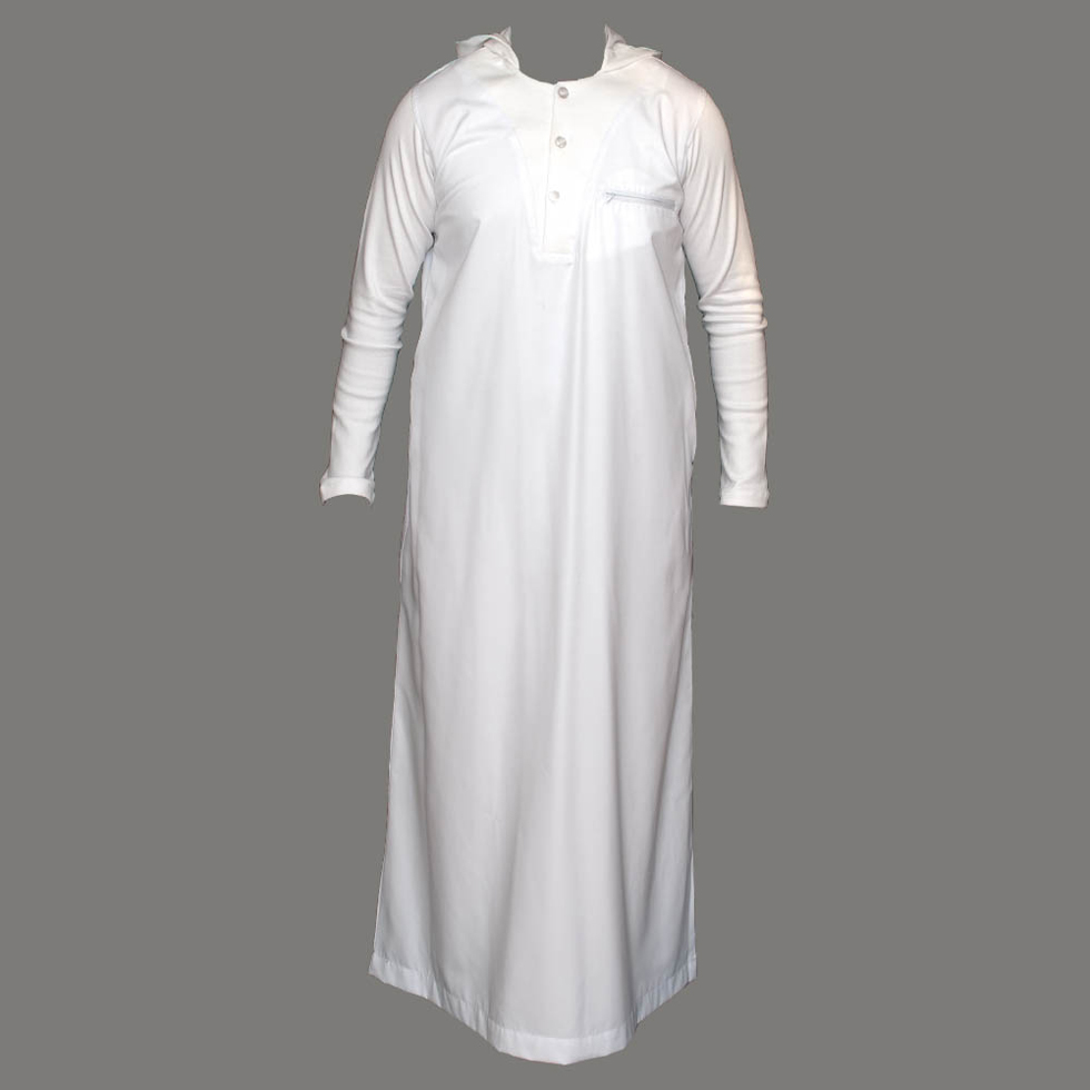 White V-Neck Hooded Jubbah Thobe