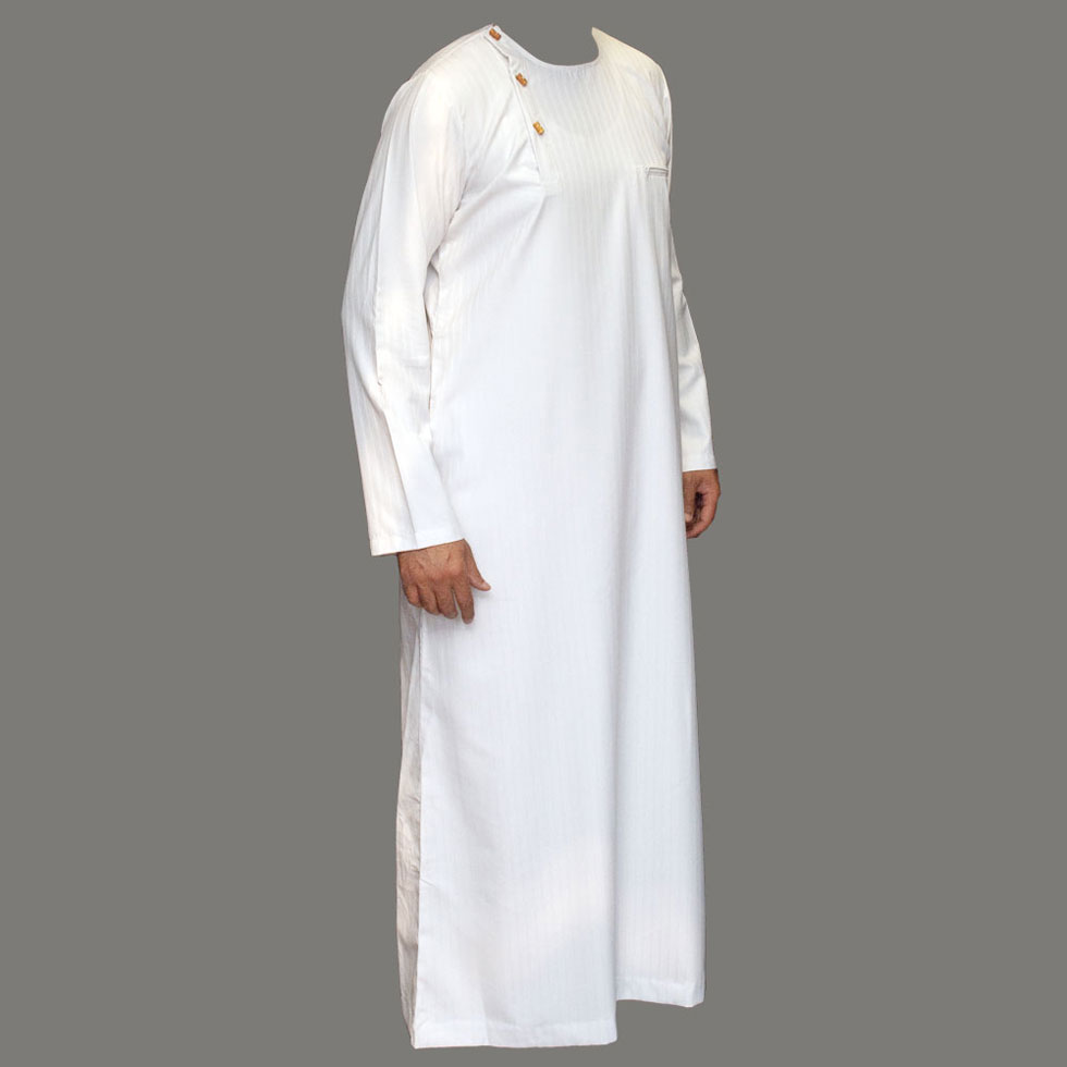 White Wooden Button Jubbah Thobe