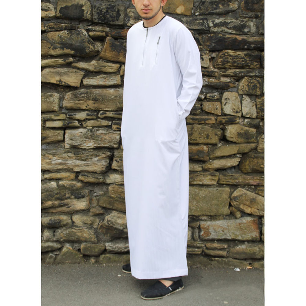 White Zipper Jubbah Thobe