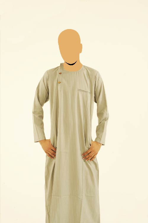 Wooden Button Uttoman Khaki Jubba
